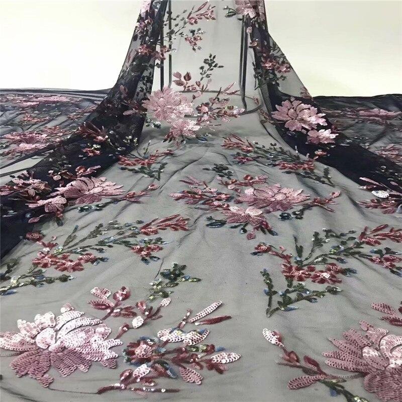 Ev ve Bahçe'ten Dantel'de 2019 Son Afrika Dantel Kumaş Ile Glitter Sequins Kumaş Yüksek Kalite Renkli Fransız Net Dantel düğün elbisesi 5 Yard/ lot'da  Grup 1
