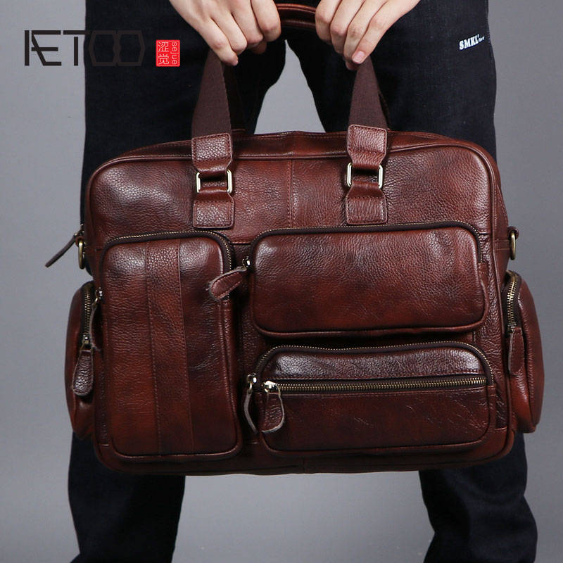 AETOO Original retro multifunctional oil skin briefcase male bag leather business bag men's shoulder bag