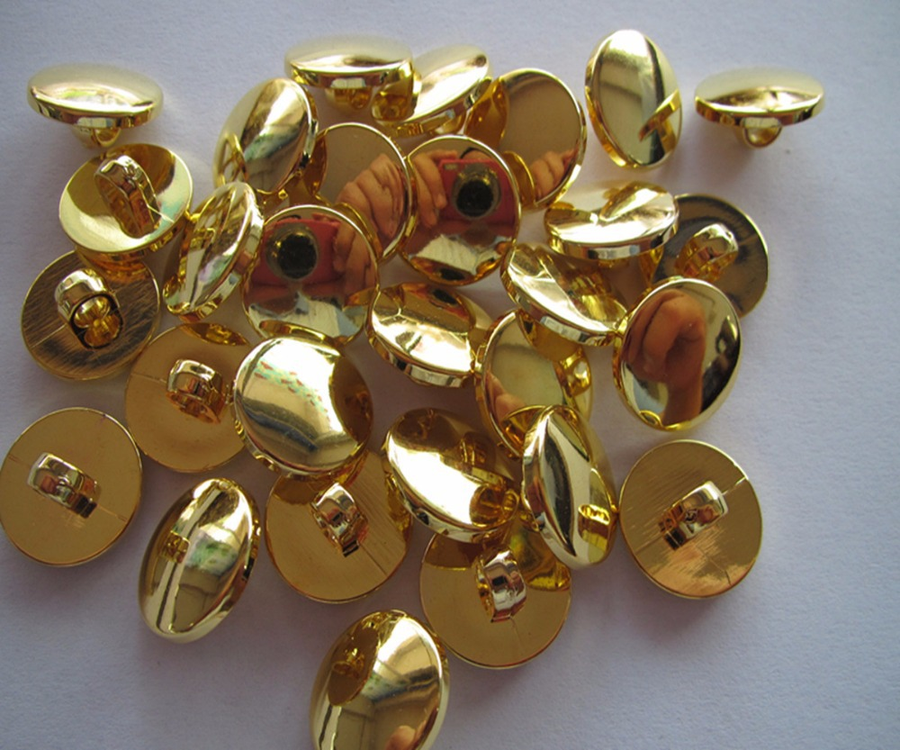 Free shipping 18mm shank button sewing diy shank button blouse plastic plating gold fashion button gold color 100pcs