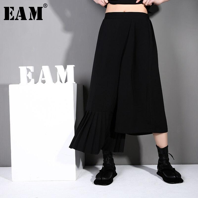 [EAM] 2019 New Spring Summer High Waist Loose Black Irregular Pleated Loose   Wide     Leg     Pants   Women Trousers Fashion Tide JO26