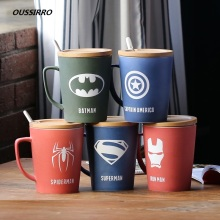 350ML/520ML Super Hero Avenger Justice League Infinity Mugs With Cover and Spoon Pure Color Cup Kitchen Tool Gift