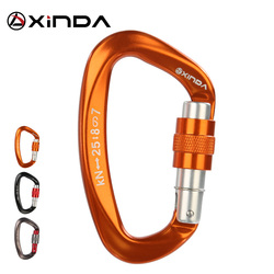Xinda 25kN  D-Shape Carabiner Climbing Security Safety Buckle Screw Gates Master Lock Carabiner Outdoor Rock Climbing Equipment