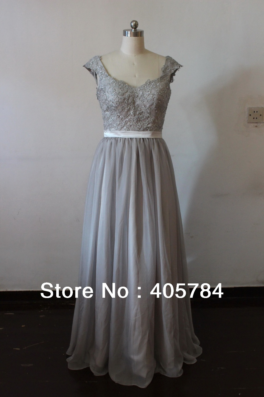 Silver chiffon lace custom made 2014 new big discount cap for Long sleeve chiffon wedding dress