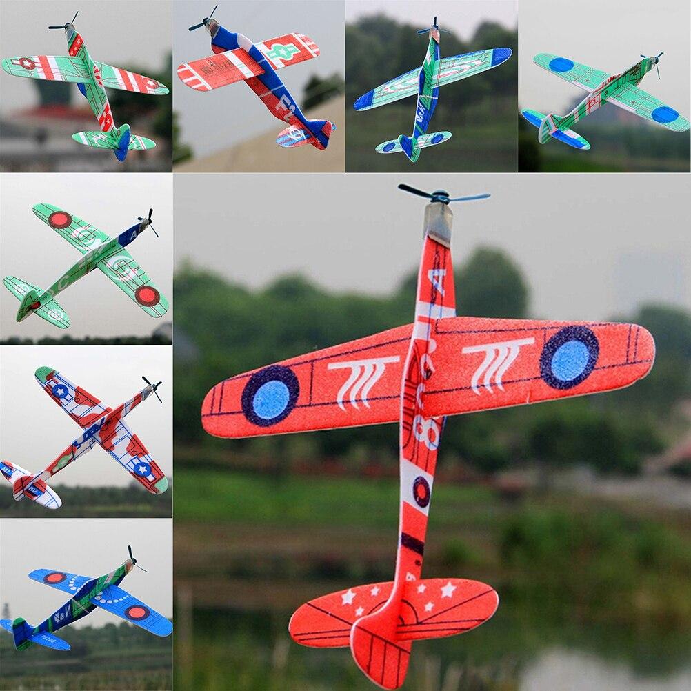 1pc nouvelle offre spéciale intéressant jouets mousse avion Epp mousse main jeter avion en plein air lancement planeur avion enfants cadeau jouet 19cm
