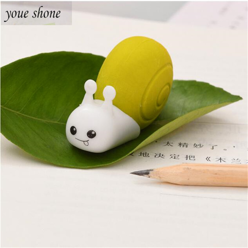 1PCS Cute  Erasers Pencil For Pencil Student Eraser Cartoon Animal Snail Rubber Student Children Prize Gift FOR KID