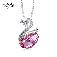 Cdyle Crystals from Swarovski Women Necklaces Pendants S925 Sterling Silver Jewelry Rhinestone Pink Yellow Blue Red White Swan