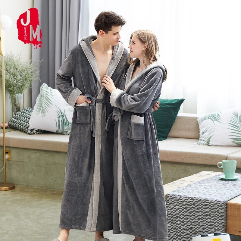 Winter Long Robes Warm Men Bathrobe Ankle-Length Coral Fleece Kimono Robe Lovers Couple Nightgown Flannel Bath Gown Sleepwear