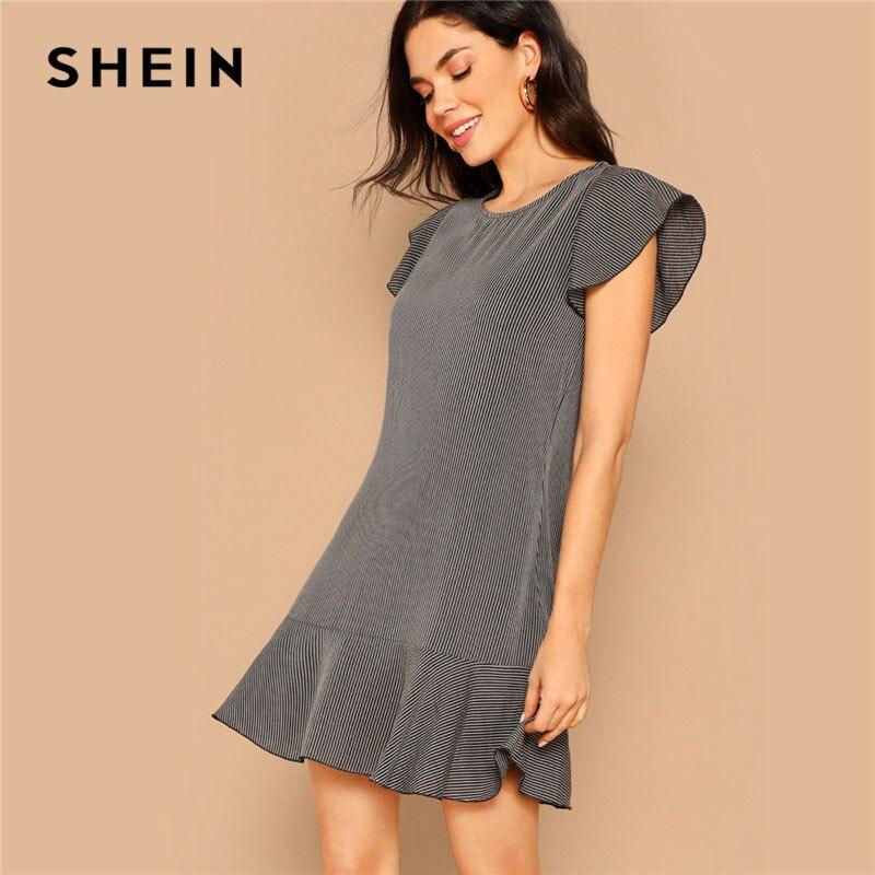 Шеин серый леди лето выходные повседневное рюшами подол полосатый трапециевидной формы мини платье для женщин кепки рукавом А