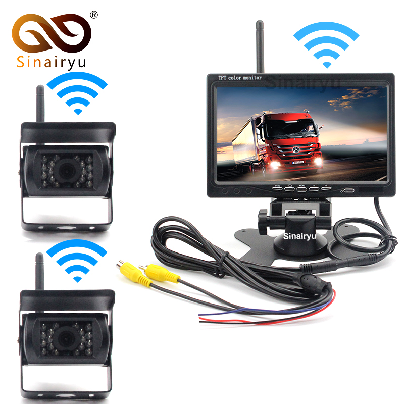 Wireless Vehicle 2 x Backup Cameras Parking Assistance System IR Night Vision Rear View Camera + 7 Monitor RV Truck Trailer Bus ahd 1 0mp dual cam ir night vision waterproof rear view parking backup reversing camera for vehicle truck bus vans surveillance