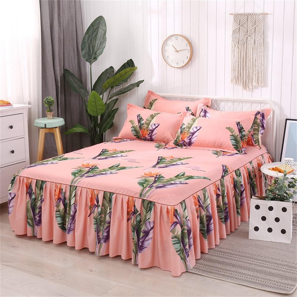 Queen Size Bed Skirt Single-Layer Skin Friendly Cotton Bedspread Pillowcases Rainforest Series 150 X 200cm