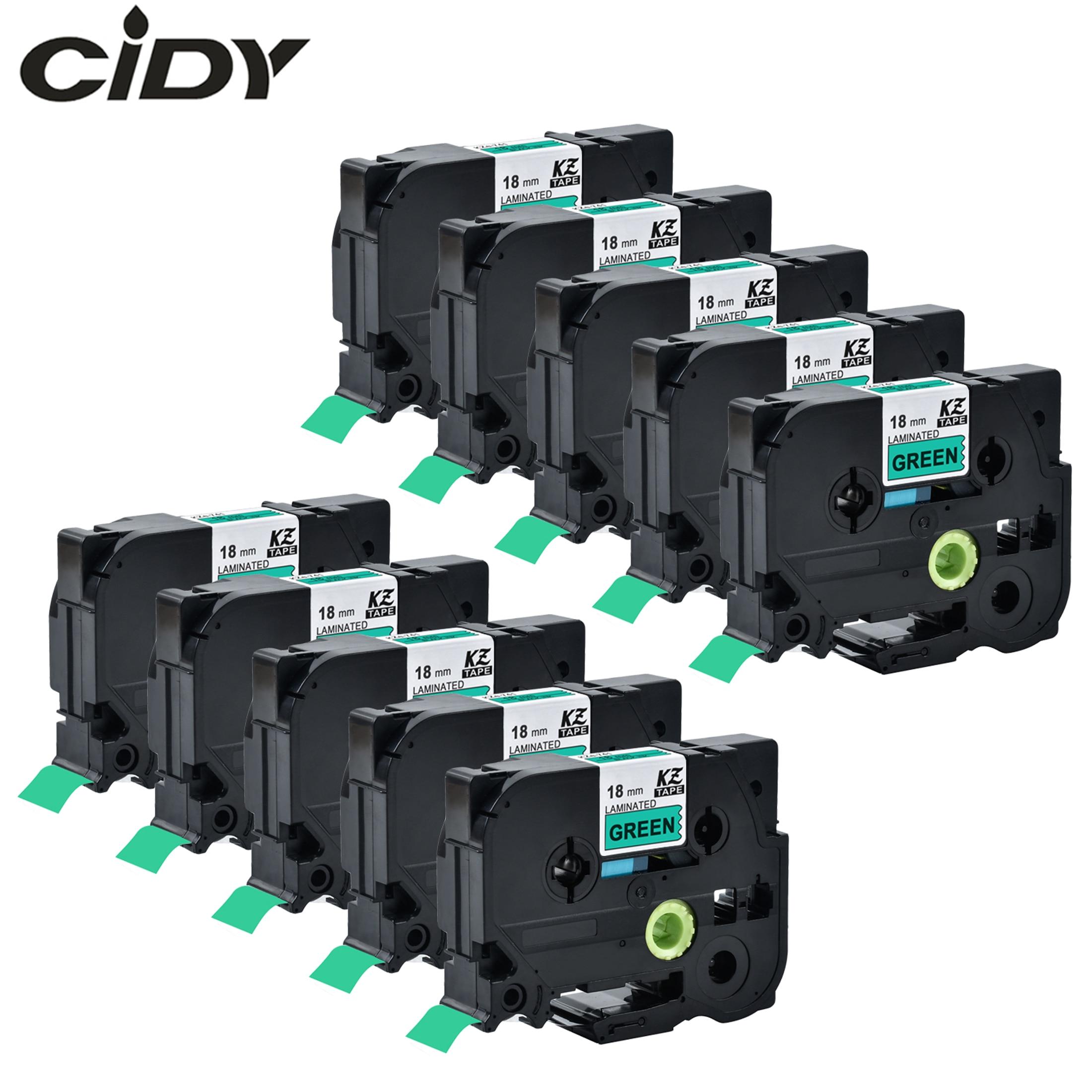CIDY Black On Green 10pcs TZe741 TZe 741 TZ 741 TZ741 TZ-741 TZe-741 Laminated Adhesive Labels Tape Compatible For Brother