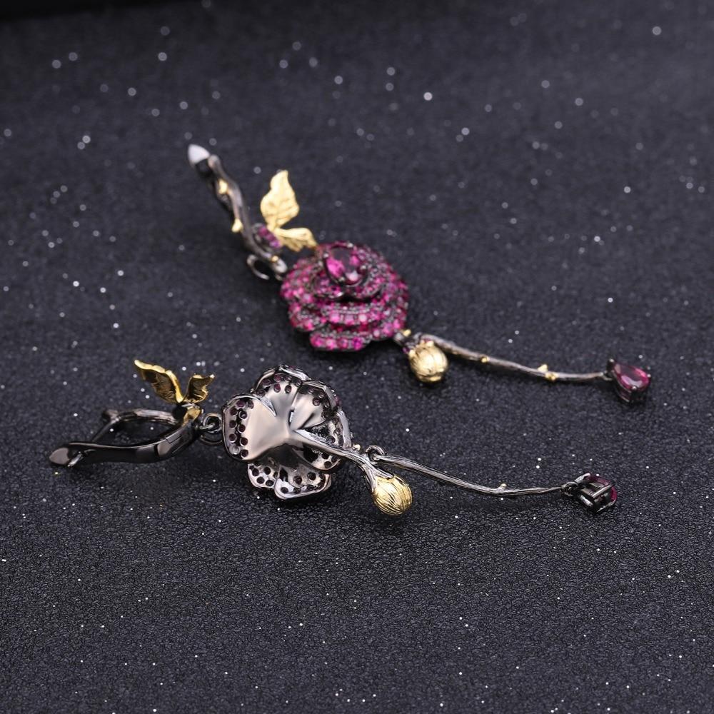Image 4 - GEMS BALLET Natural Rhodolite Garnet Handmade Rose Flower  Jewelry Set 925 Sterling Silver Ring Earrings Jewelry Sets For  WomenJewelry Sets