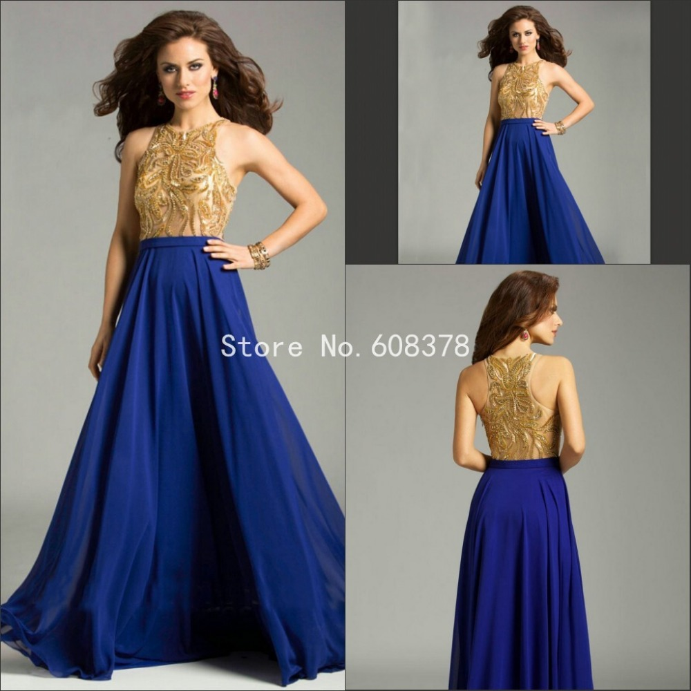 Hot selling Halter Chiffon Royal Blue Long Dress Evening Party Gold ...