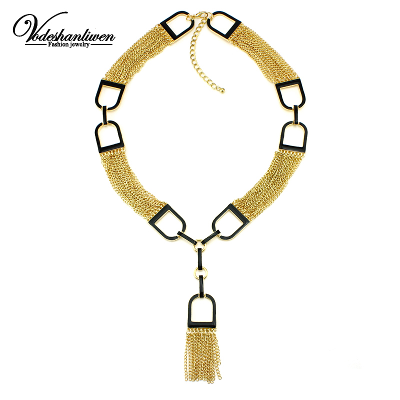 Vodeshanliwen 2016 Design Unique Tassel Necklaces & pendants Luxury Statement Necklace High Quality Accessories Maxi Necklace mjartoria crystal mystic statement necklace women maxi necklace fire pendants