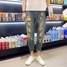2016 New Fashion Mens Skinny Straight Slim Elastic Represent Pants Denim Joggers Hip Hop Washed Jeans