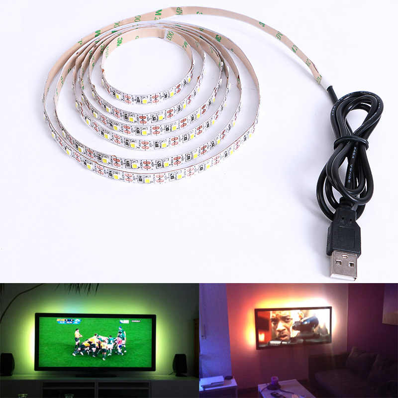 LED Strip DC 5 V USB SMD 3528 RGB Flexible Light Lampu LED TV Pencahayaan Latar Belakang Pita Perekat 50 CM 1 M 2 M 3 M 4 M 5 M