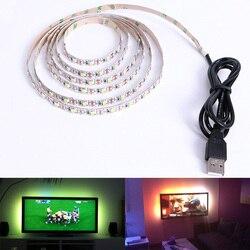 Cветодиодная лента DC 5 V USB SMD 3528 RGB Гибкий свет лампы светодиодные ТВ фонового освещения клейкая лента 50 см 1 м 2 м 3 м 4 м 5