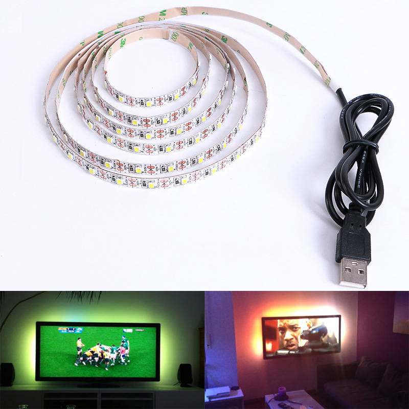 DC 5V USB LED strip SMD 3528 RGB Flexible Light Lamps LED Light TV Background Lighting Adhesive Tape 50CM 1M 2M 3M 4M 5M kinlams 5v 50cm 1m 2m 3m 4m 5m usb cable power led strip light smd2835 3528 christmas desk lamp tape for tv background lighting