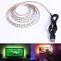 Tira de LED USB DC 5 V SMD 3528 RGB Flexible de luz lámparas LED luz TV iluminación de fondo adhesivo 50 CM 1 M 2 M 3 M 4 M 5 M