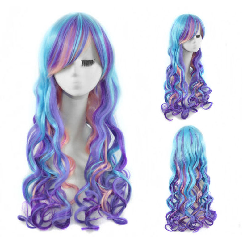 Adaptable New Fashion Women Stone Gray Long Curly Wavy Hair Full Cosplay Lolita Party Wig Convenient To Cook