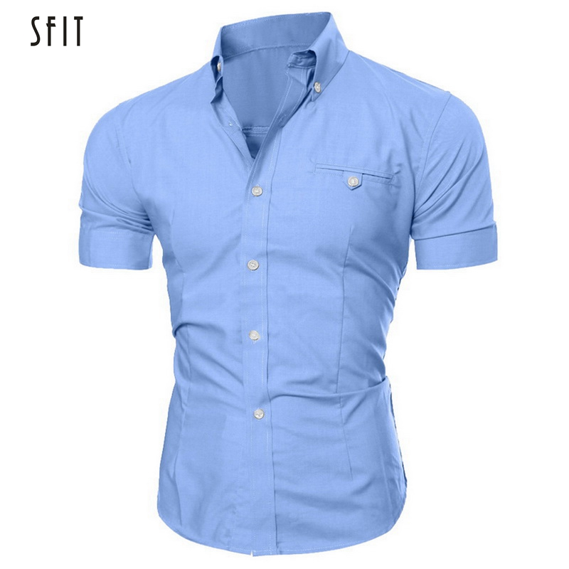 SFIT Men Shirt Summer Man Homme Cotton Social Clothes Short Sleeve Hawaiian Camisa Masculina Casual Slim Fit Male Dress Shirts
