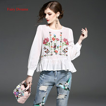 Fairy Dreams Women Shirt White Black Flowers Embroidery Blusas 2017 New Style Spring Summer Blouse Fashion Plus Size Clothing