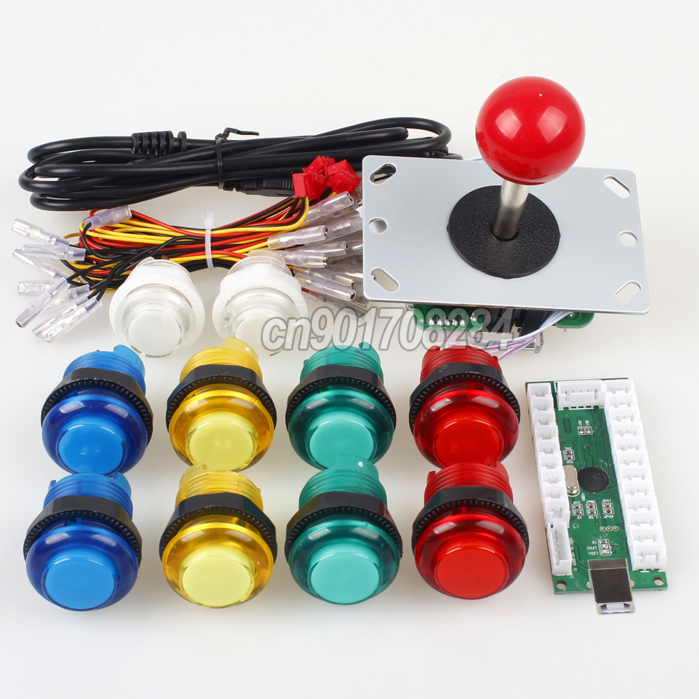 Arcade Joystick DIY USB Encoder to PC Games 10x LED 5V Illuminated Buttons for Arcade Ra ...