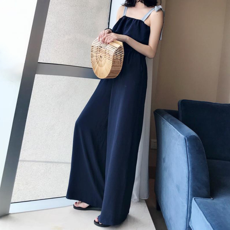 TWOTWINSTYLE Lace Up Jumpsuits Womens Off Shoulder Ruffles Tunic High Waist Maxi Wide Leg Pants Summer Fashion Holiday Clothing 4