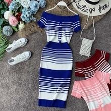 NiceMix Sexy Dress Women Bodycon Striped Off Shoulder Knitted Midi 2019 Summer High Waist Short Sleeve Vestidos