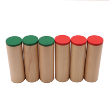 Baby Funny Wooden Montessori Sensorial Auditory Sound Boxes Cylinders Kids Baby Wooden Educational Toys 6PCS Set