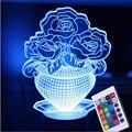 Lâmpada Escultura criativa Visual 3D Ilusão de Ótica LED Candeeiro de Mesa USB Romântico Vaso De Flor de Férias Luzes Luminaria Lâmpada Humor