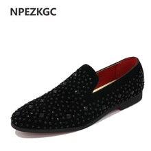 NPEZKGC NEW 2017 Fashion Oxfords Men's Loafers Male slip on size 39-45 hot sales Point toe Black Colors Rhinestones men shoes