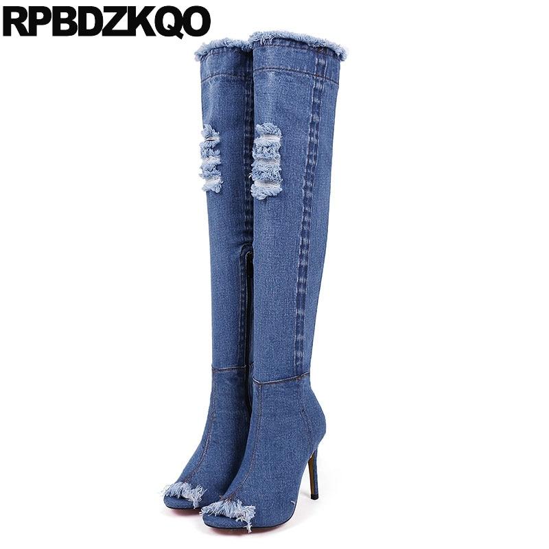 huge selection of e13b4 e9c9f US $69.2 36% OFF High Heel Schuhe Stiletto Sandalen Knie Lange Offene  spitze Jeans Blau Denim Stiefel Dünne Slingback Über Die Herbst Ankle Peep  ...