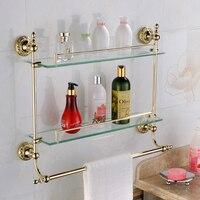Европа Золото Ванная Комната Полка Косметика Золотой Bench резные Стекло позолоченные латунные 2 слоя Ванная комната код