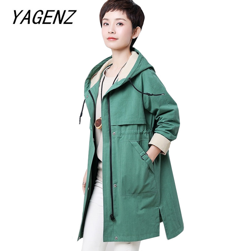 Large size 4XL Women Hooded   Trench   Coat Spring Autumn Loose Fashion Casual Female Outerwear High grade Cotton Long Windbreaker