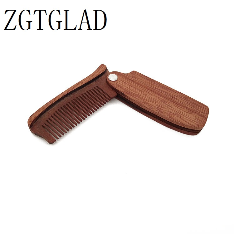 ZGTGLAD 1pc Wooden Folding Beard Comb Pocket Size Moustache and Hair Combs Anti-static Comb for Men & Women Hair Care Tools