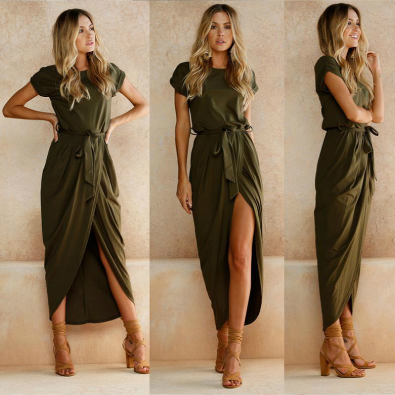 LOSSKY 2018 Summer/ Autumn Women Fashion Straps And Split Dresses Female Sexy Split Solid Color Long Dress Ankle-length Clothes