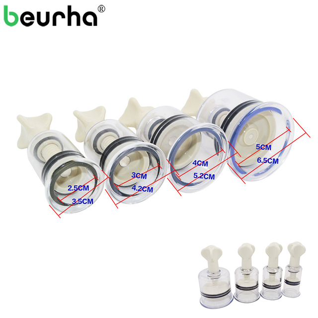 4PCS 4 Sizes Vacuum Twist Rotary Cupping Professional Nipple Enlargement NO Pump Suction Enlarger Body Cupping Plastic