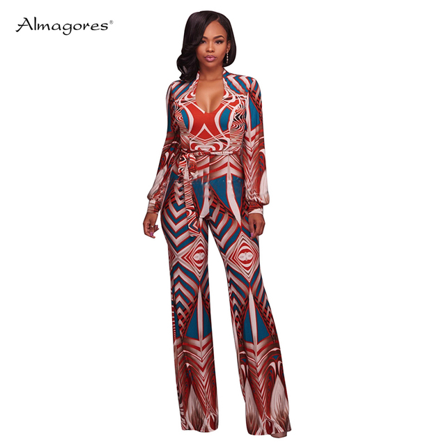 1dca5fd00676 2018 Sexy Bodycon Jumpsuit Casual Vintage Print Autumn Long Sleeve Pant Romper  Women Jumpsuits Night Club Overalls Plus Size 3XL