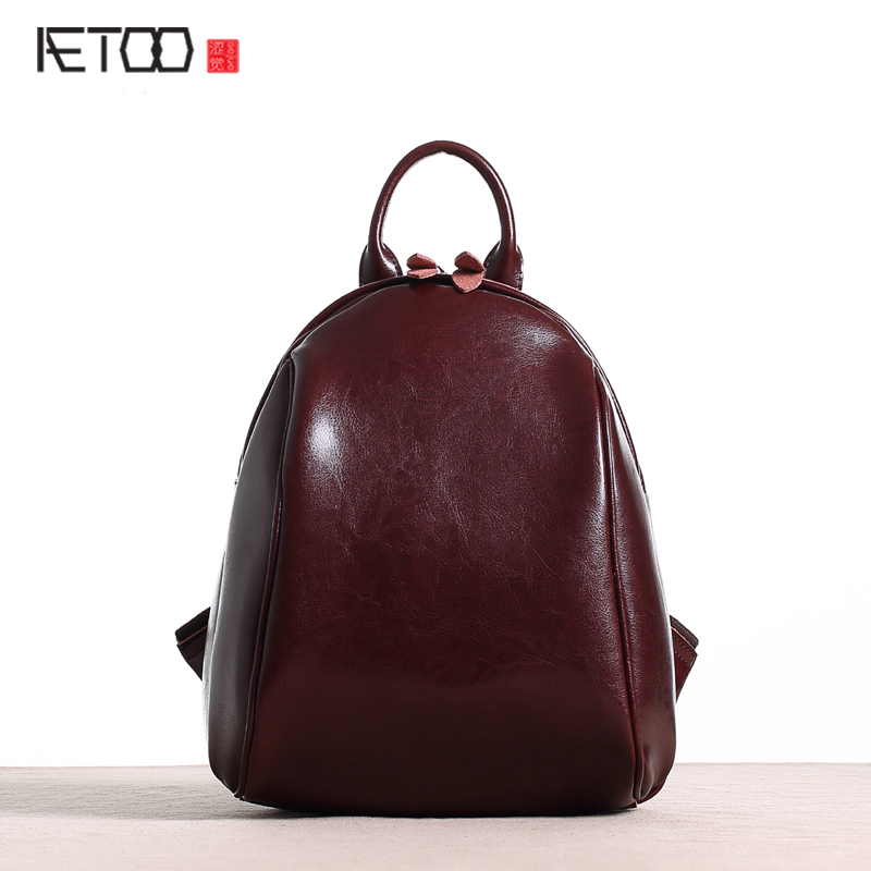 AETOO New original leather backpack female shoulder bag leather Korean version of the simple casual shells shoulder backpack shoulder bag female korean version of the wave sheepskin leather backpack 2017 spring new casual fashion travel bag