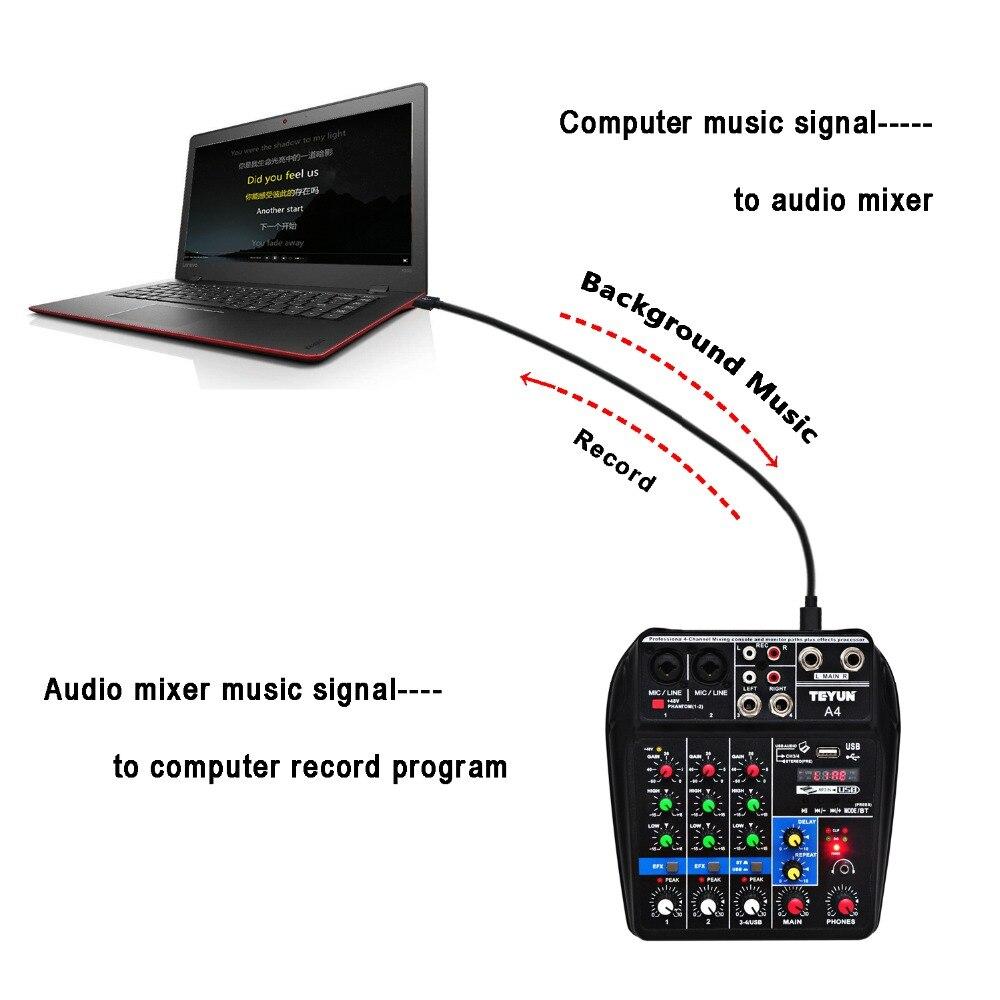 A4 Console de mixage sonore Bluetooth USB enregistrement ordinateur lecture 48V fantôme délai d'alimentation Repaeat effet 4 canaux USB mélangeur Audio - 5