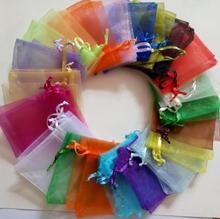 1000 יחידות Drawable אורגנזה תיק שרוך פאוץ חתונת יום הולדת חג מולד תצוגת אריזת תכשיטי מתנת שקית אחסון שקיות