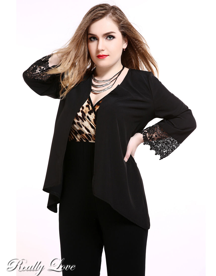 9c7cab4926e Cute Ann Women s Black Lace Patchwork Plus Size Duster Coat Long Sleeve  Open Stitch Duster Cardigan Jacket Summer Casual Wear-in Basic Jackets from  Women s ...