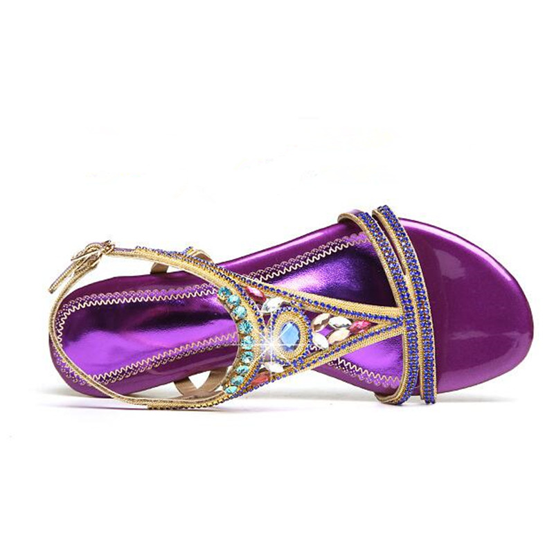 Cuir Strass D'été gold 001 Sandales Nouvelles Plat En 001 purple 2019 De Véritable Femmes 002 gold Chaussures Loisirs 002 Purple Mode Plates VSpzGMjLqU