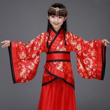 women chinese princess costume traditional dance costumes kids enfants children folk ancient hanfu tang dynasty dress girls rose
