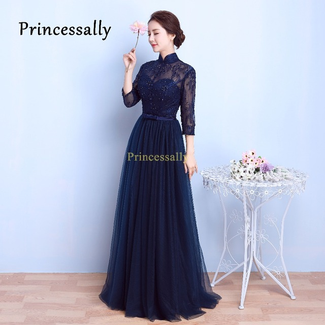 navy blue bridesmaid dresses with sleeves good dresses