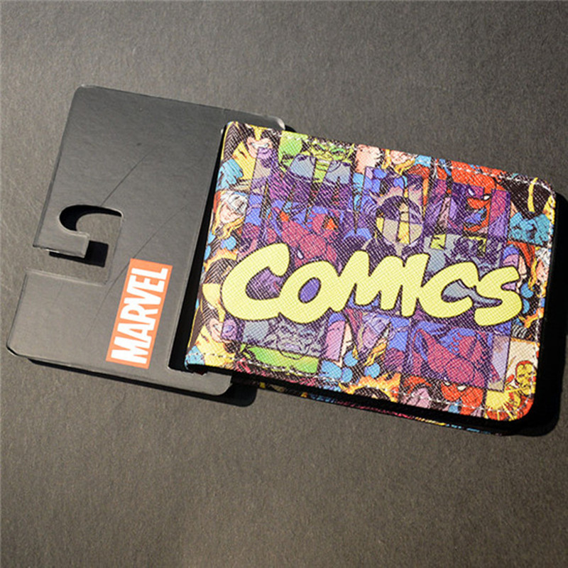 Mens Slim Leather Wallet Comics Dc Marvel The Avengers Thor Hulk Spiderman Purse Logo Credit Oyster