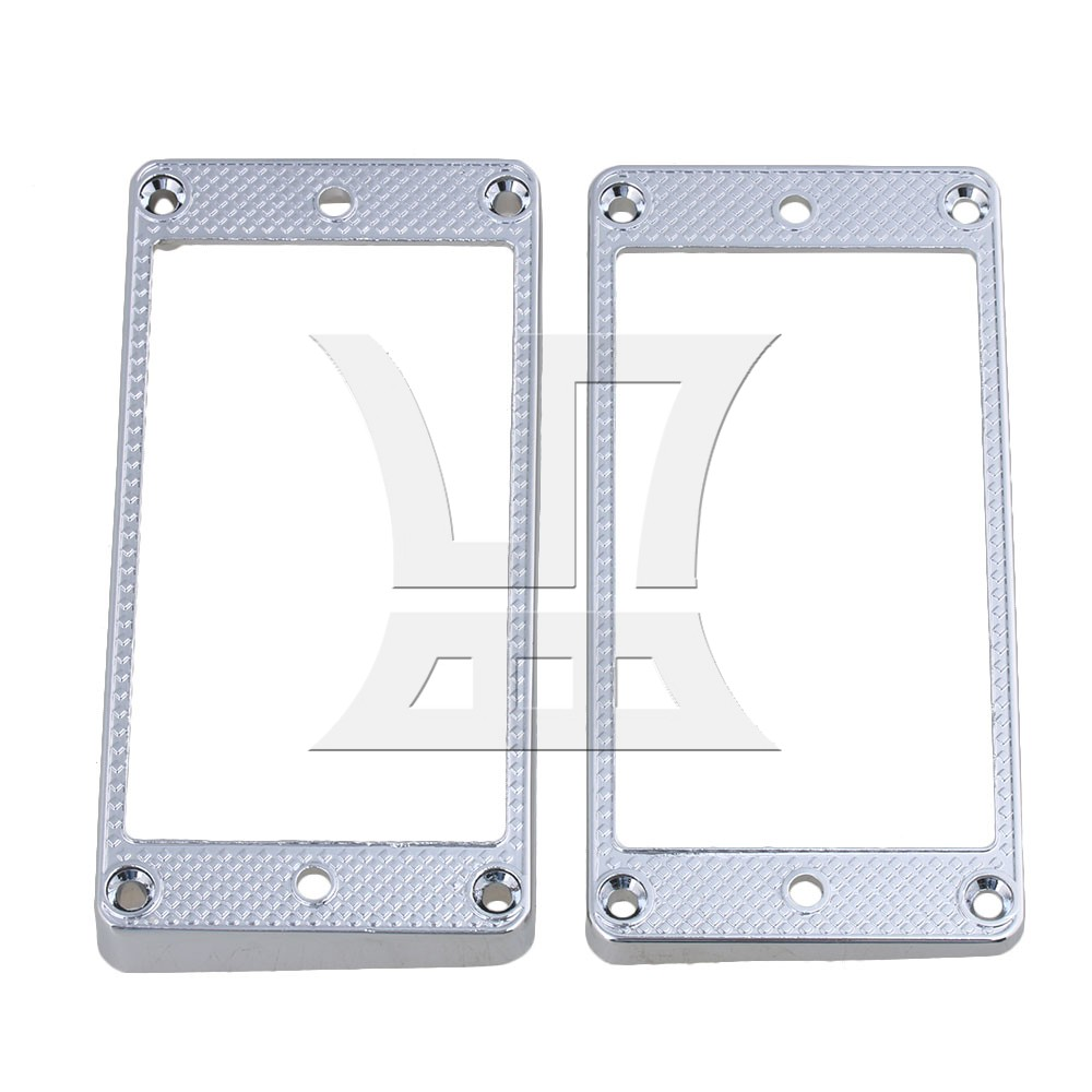 Yibuy  91mm x 45mm Metal Chrome Guitar Curved Humbucker Pickup Frame Mounting Rings for Electric Guitar Pack of 2