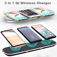 3 in 1 Qi Wireless Charger for iPhone X/XS Max XR 8 Plus Fast Wireless Charging Pad for Samsung Galaxy S7 Edge S8 S9/S9+ Note 9
