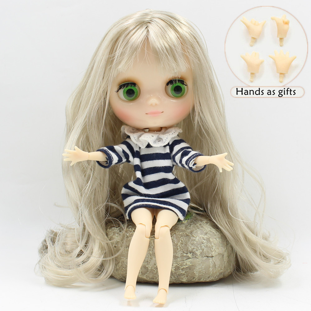 Free shipping Nude Middle blyth Doll nude joint doll 210BL8800 wavy hair with bangs grey hair, 1/8 doll(20cm) free shipping blyth doll nude dolls colorful bangs hairy multi joint body 19 joint joints can be rotated to send hand group
